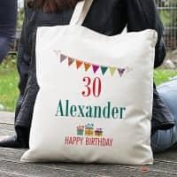 Happy Birthday - Baumwollbeutel mit Name und Alter