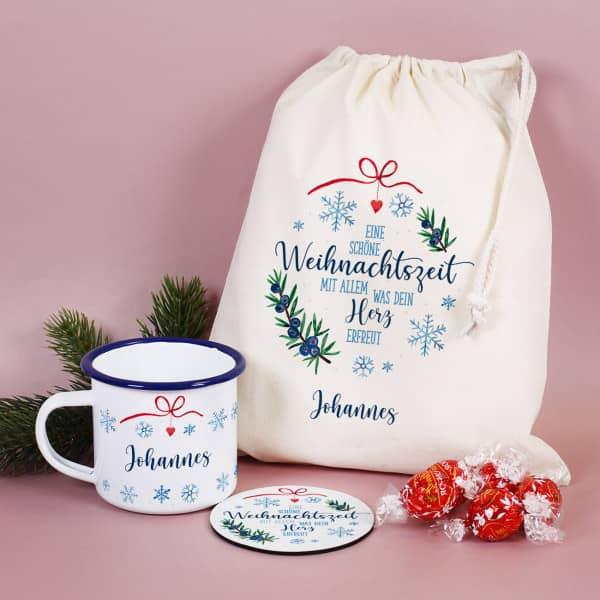 Geschenksack zu Nikolaus & Weihnachten mit Emailletasse, Untersetzer, Lindor Pralinen