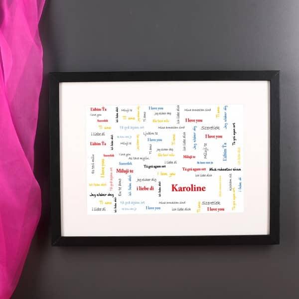 Personalisiertes Wandbild mit Wunschnamen - Ich liebe Dich