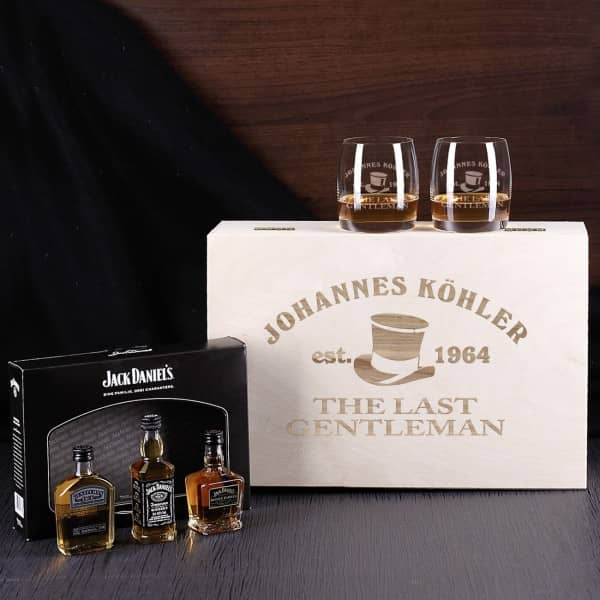 edles jack daniels whisky set in holzbox inklusive gl ser. Black Bedroom Furniture Sets. Home Design Ideas