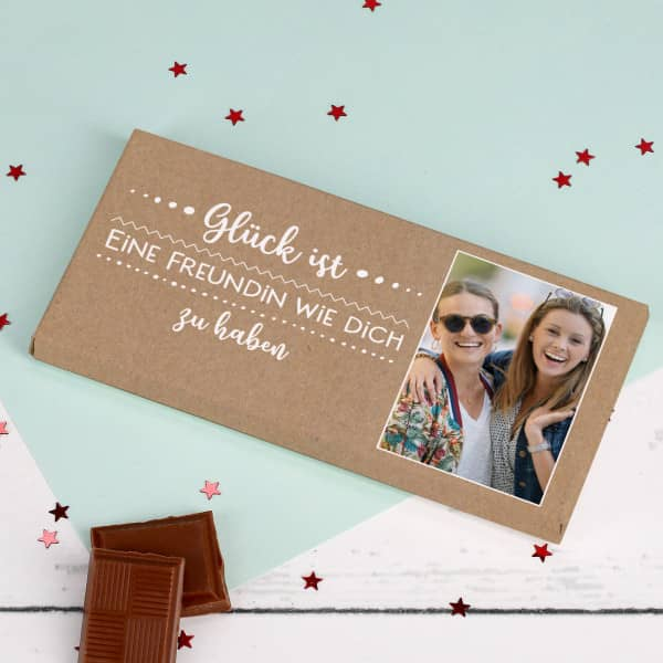 Glück ist... personalisierte Schokolade mit Wunschtext und Foto