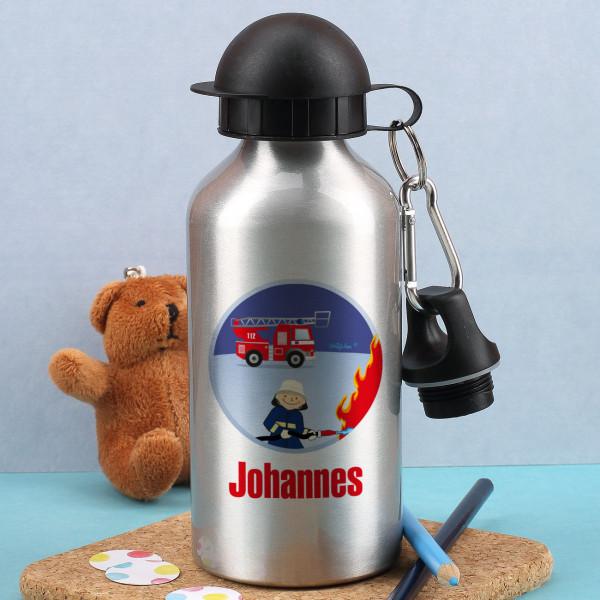 Silberne Trinkflasche mit Feuerwehrmann und Ihrem Wunschnamen
