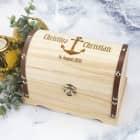 Schatztruhe aus Holz in 3 Größen mit Anker und Wunschgravur