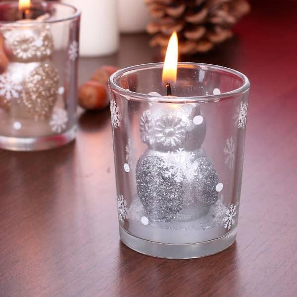 Kerze im Glas Weihnachtseule Silber