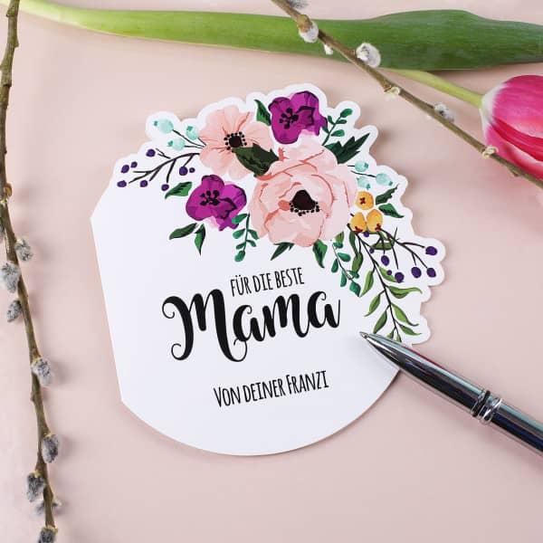 Klappkarte zum Muttertag mit Blumen und Wunschtext