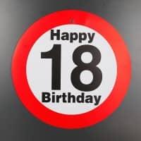 Verkehrsschild mit Saugnapf zum 18. Geburtstag