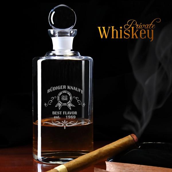 Edle Karaffe für Whiskey - Motiv Old Times, best Flavour
