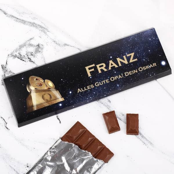 Individuellleckereien - 300g Schokolade zum 60. Geburtstag mit Text und Name - Onlineshop Geschenke online.de