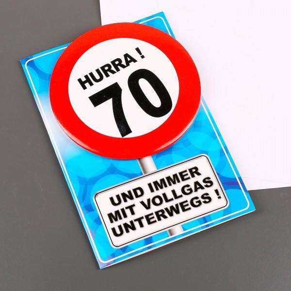 Karte mit Button im Verkehrszeichen Design zum 70. Geburtstag