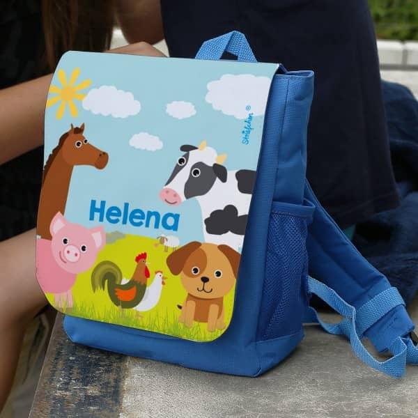 Kinderrucksack mit Bauernhof Tieren und Ihrem Namen