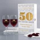 Geschenkset zur goldenen Hochzeit - Weingläser in edler Holzbox