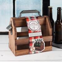 Holz-Bierträger mit Metall-Flaschenöffner