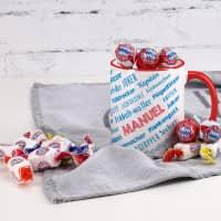 Fußballtasse für Bayern Fans mit Süßigkeiten gefüllt