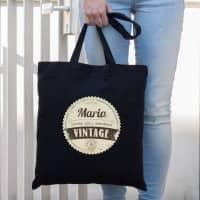 Schwarzer Beutel mit Ihrem Namen - Nicht alt, sondern vintage!