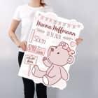 XXL Karte zur Geburt eines Mädchens mit Teddybär