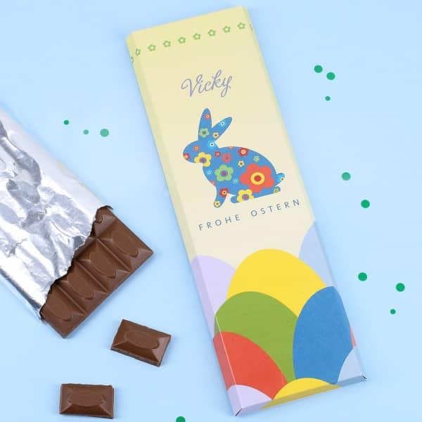 300g Schokolade mit Ostermotiv und Wunschname
