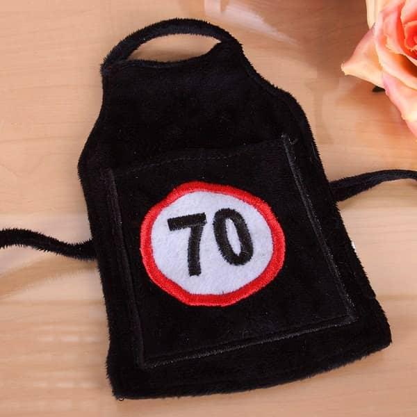 Flaschen-Schürze mit Tasche 70 aus Plüsch