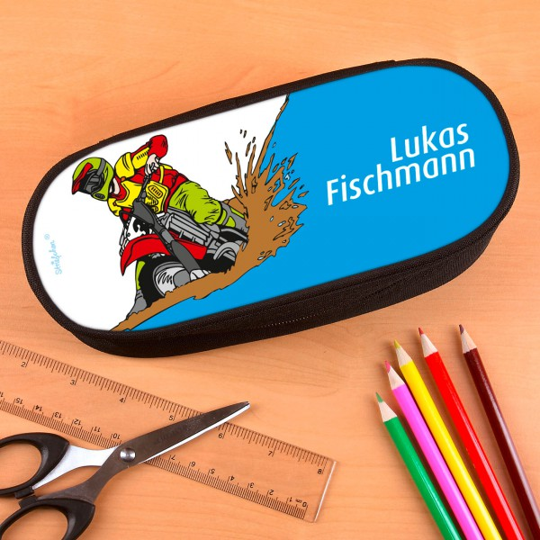 Stiftetasche mit Wunschname für Motorradfans