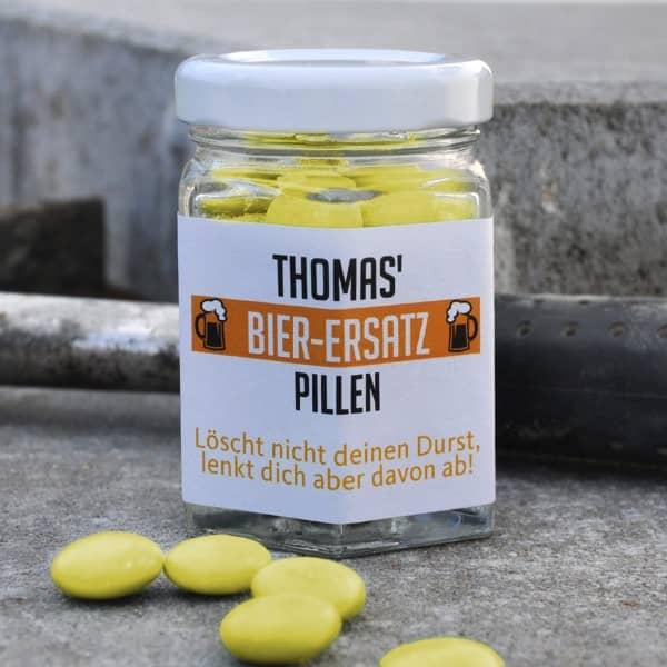 Bier-Ersatz-Pillen aus der lustigem Apotheke mit Name und Wunschtext