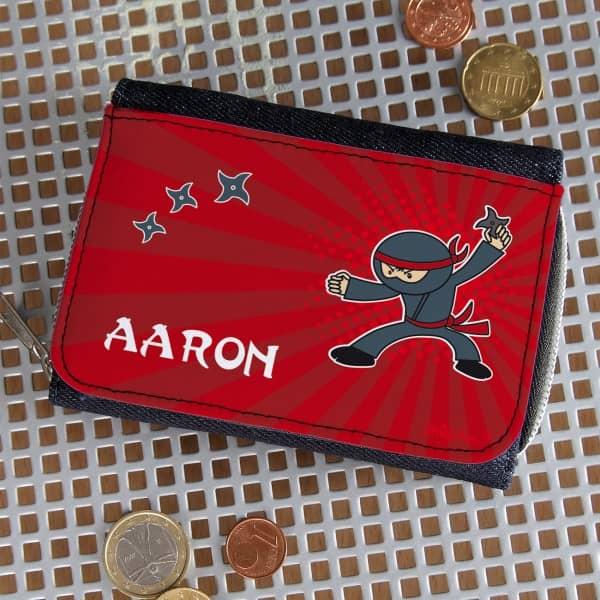 Geldbörse mit Ninja Motiv und Ihrem Wunschnamen