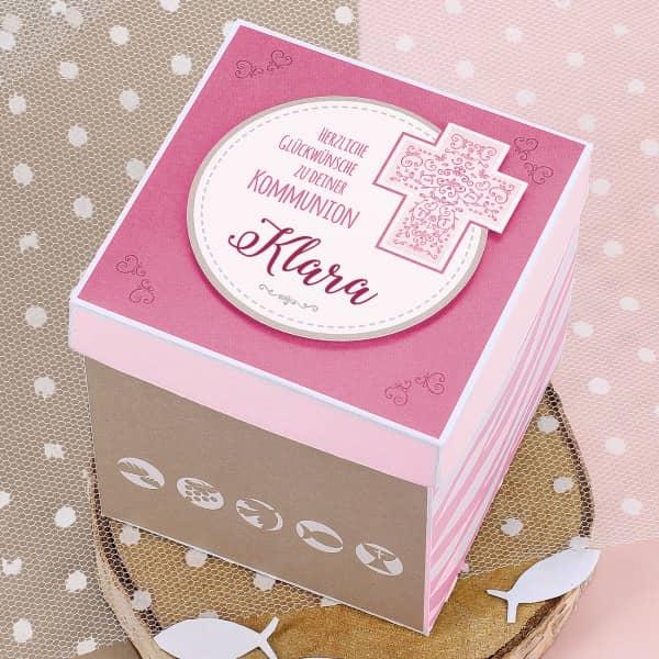 Rosa Überraschungsbox zur Kommunion, für Geldgeschenke und Gutscheine