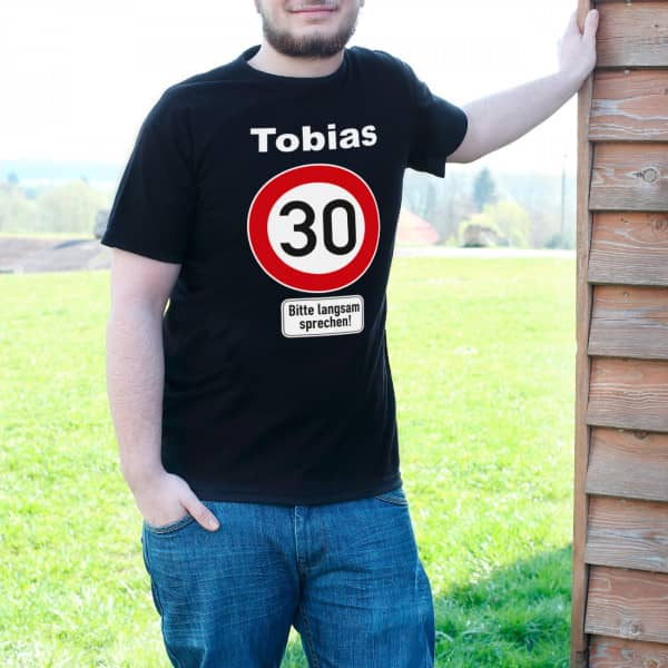 Super T Shirt zum 30. Geburtstag Verkehrsschild 30 Name