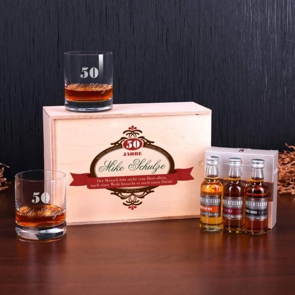 Whisky Set zum Geburtstag mit Auchentoshan und 2 Gläsern