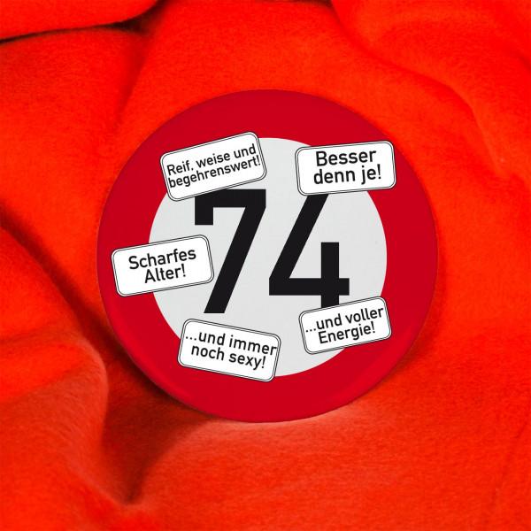 Button zum 74. Geburtstag