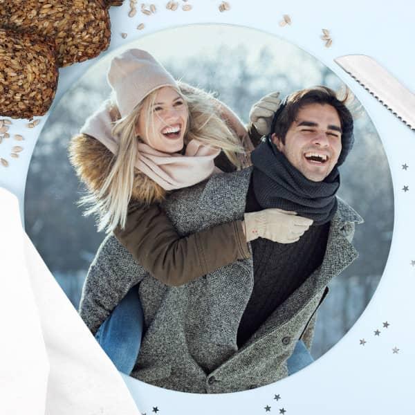 Individuellküchenzubehör - Rundes Glasbrettchen mit Ihrem Lieblingsfoto - Onlineshop Geschenke online.de