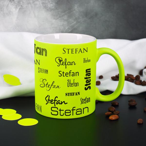 Neon Tassen mit Ihrem Namen in verschiedenen Schriftarten