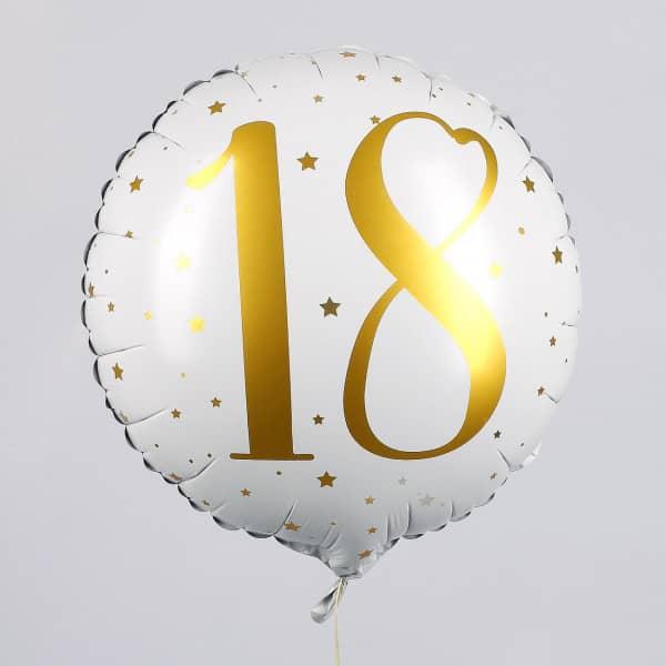 Folienballon zum 18. Geburtstag in weiß