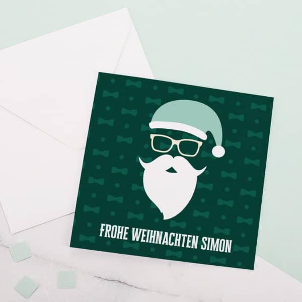 Weihnachtskarte mit coolem Weihnachtsmann und Ihrem Wunschtext