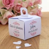 6 x Verpackung Gastgeschenke mit Herzen, Namen und Datum - Schön, dass du da bist!