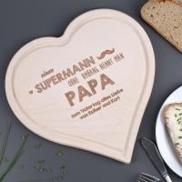 Holzherz Brettchen mit Gravur für super Papas zum Vatertag