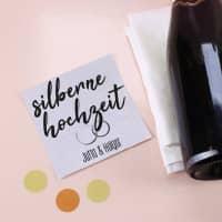 Silberne Hochzeit - Flaschenetikett mit Namensaufdruck