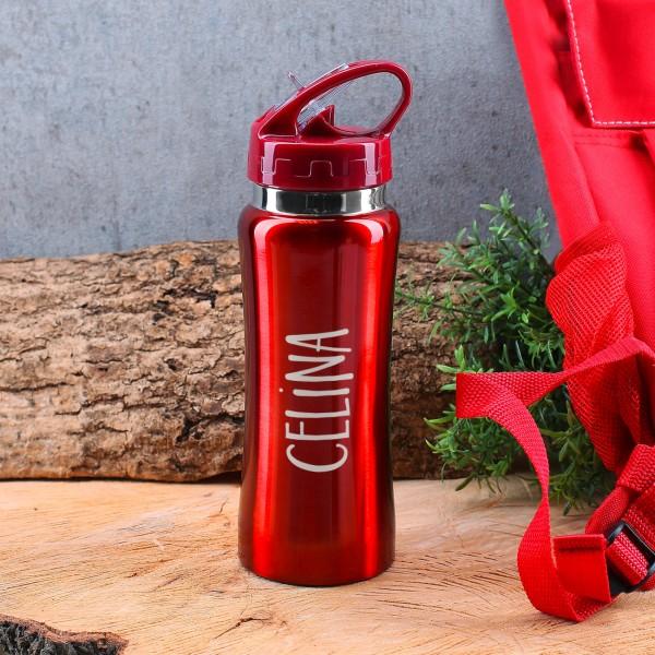 Edelstahl Trinkflasche rot mit Schnellverschluss und Namensgravur