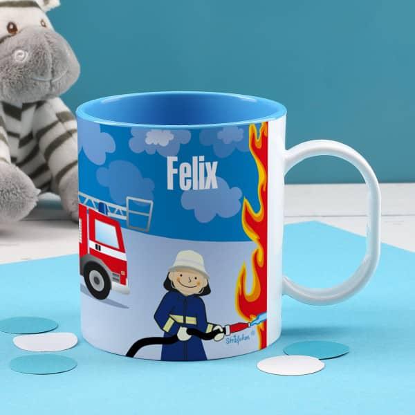 Individuellküchenzubehör - Bedruckte Kindertasse mit Feuerwehrmann - Onlineshop Geschenke online.de