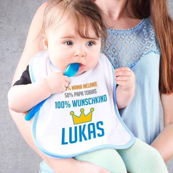 Lätzchen für Jungen 100 Wunschkind mit Namen der Eltern und des Kindes