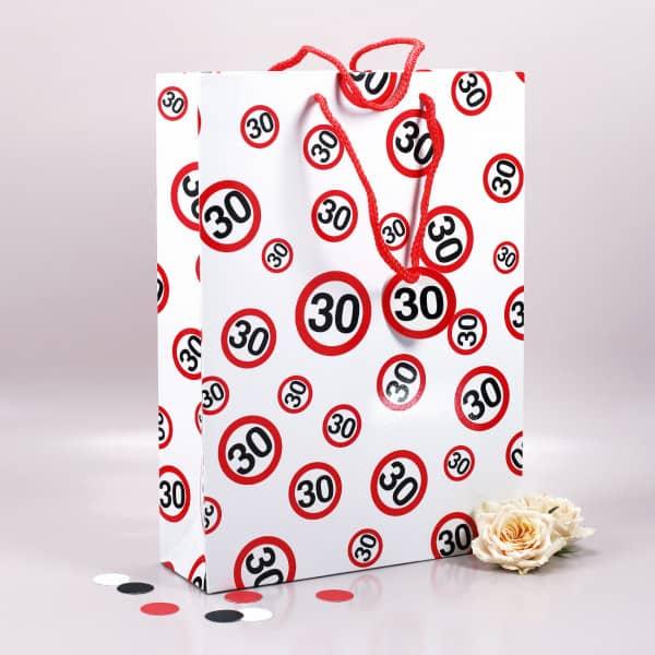 Geschenktasche mit Verkehrszeichen 30