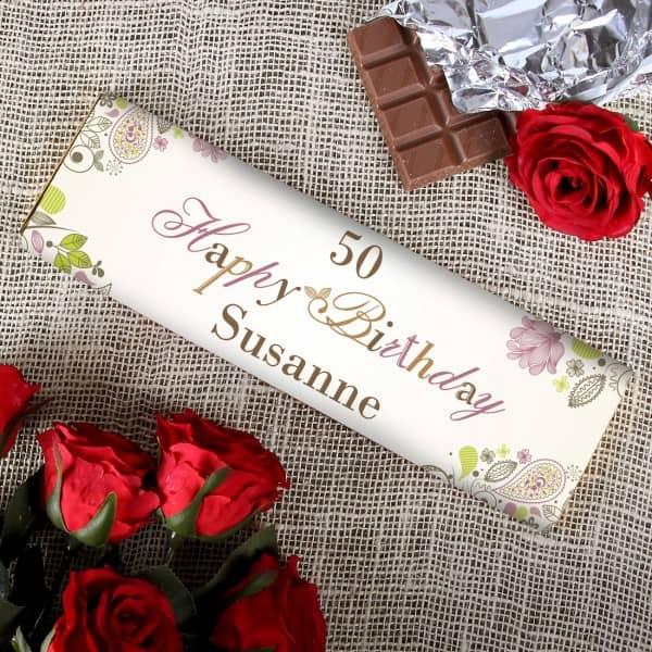 Schön verzierte 300g Schokolade *Happy Birthday* mit Name
