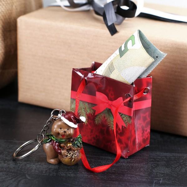 Weihnachts-Bär Schlüsselanhänger mit Geschenktüte
