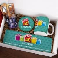 Gefüllte Geschenkbox zum 40. Geburtstag