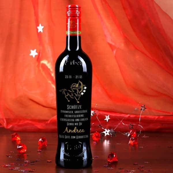 Gravierte Weinflasche mit Ihrem Namen und Swarovski-Elements zweifarbig