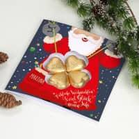 Weihnachtskarte mit Lindt Schokoladen-Kleeblatt und Name