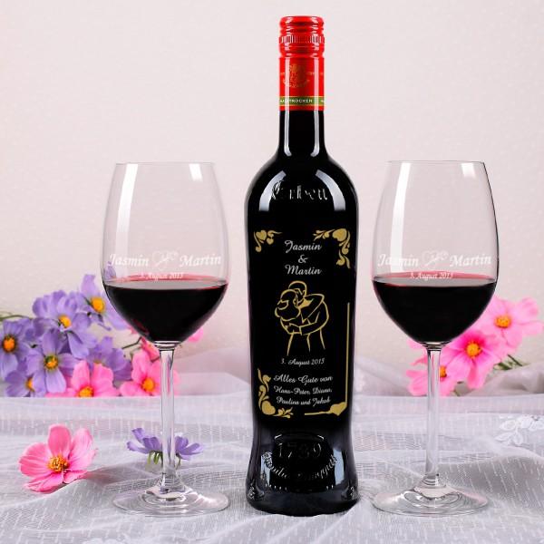 weinset mit gravur 2 gl sern und flasche rotwein zur hochzeit. Black Bedroom Furniture Sets. Home Design Ideas