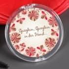 Aufklappbarer Taschenspiegel mit Blumenmotiv und Namensaufdruck
