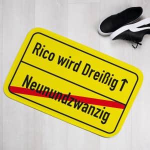 Fußmatte Ortsschild personalisiert