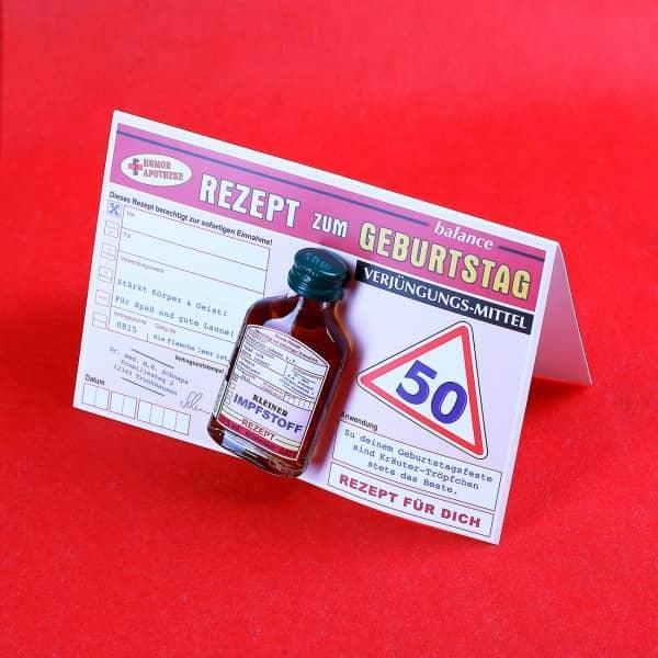 Glückwunschkarte Rezept zum 50. Geburtstag