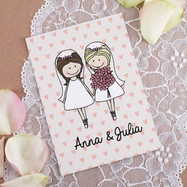 Postkarte mit Braut-Motiv und Wunschnamen mit rosa Hintergrund