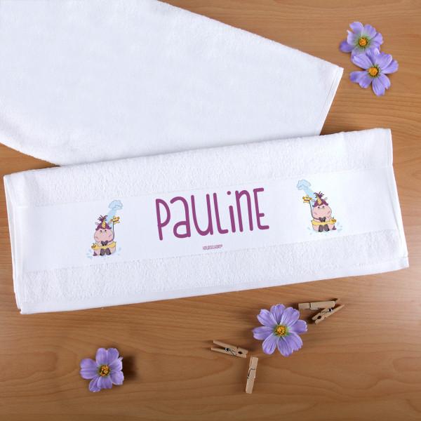 Individuellbadzubehör - Handtuch mit Knuddelhorn auf Wasserrutsche mit Wunschname - Onlineshop Geschenke online.de